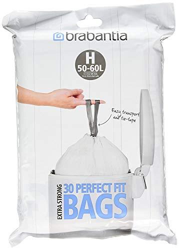 Brabantia Bolsas de basura, tamaño H, 50-60 L, 30 bolsas (paquete de 3)