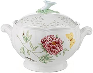 Lenox Butterfly Meadow Round Covered Casserole, 2 piece, white body - 6083828