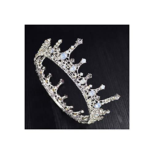 Vintage zilveren gouden barokke strass ronde kroon kristal grote koningin Tiara voor bruiloft ZILVER