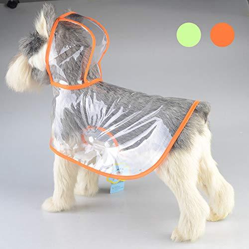 Impermeable para perros Perro Chubasqueros-Abrigo con Chaqueta Capucha medianos Tiras reflectoras seguras Sudaderas Agujero Arnés Tira Reflectante Bolsillos Ultra-Light Transpirable, Orange /
