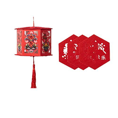 Boylee Farolillos chinos de color rojo con decoración luminosa Good Fortune Red China DIY con ligeras decoraciones, buena suerte para los farolillos chinos de Año Nuevo Año Nuevo