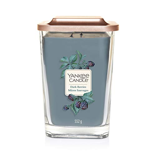 Yankee Candle Elevation Kollektion mit Plattformdeckel Große 2-Docht-Quadratkerze, Dark Berries