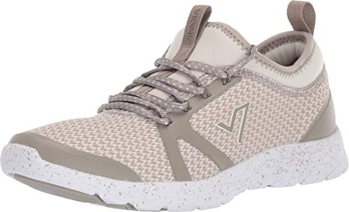 Vionic Women's Brisk Alma Lace-up Sneakers - Ladies Walking Shoes with Concealed Orthotic Arch Support Aluminum 7.5 W US