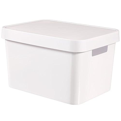 CURVER 04743-N23-01 Boîte à Rangement Infinity avec Couvercle 17L en Blanc, Plastique, 36,3x27x22,2 cm