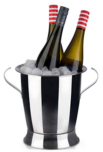 Buddy's Bar - Secchiello del Ghiaccio a Forma di Coppa per Vino e Champagne, capacità 5 Litri, Secchiello del Ghiaccio in Acciaio Inossidabile, glacette, Diametro Interno 23 cm, Altezza 24 cm, Lucido