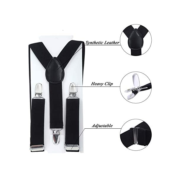 Kids Suspender Bowtie Necktie Sets – Adjustable Elastic Classic Accessory Sets for 6 Months to 13 Year Old Boys & Girls