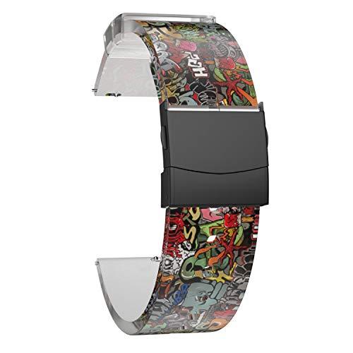 SOUWILA Correa Reloj Recambios Correa Relojes Caucho 18/20/22/24mm Caucho Correa Reloj con Acero Inoxidable Hebilla Desplegable (20mm, RedGreen-Black)