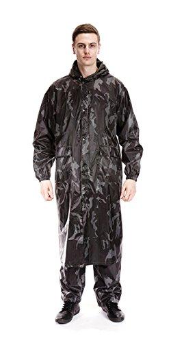 Langer, wasserdichter Regenmantel (Regenjacke) für Herren mit Kapuze Gr. Large, camouflage