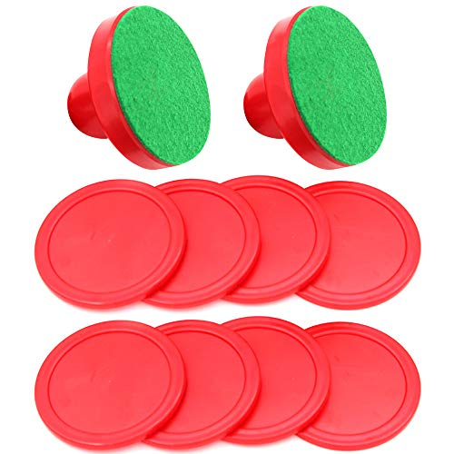 Gobesty Air Hockey Pushers, Kunststoff Eishockey Pusher Airhockey Pushers Pucks Set Hockey Pucks Set, 2 Drücker und 2 Lints und 4 Roten Pucks