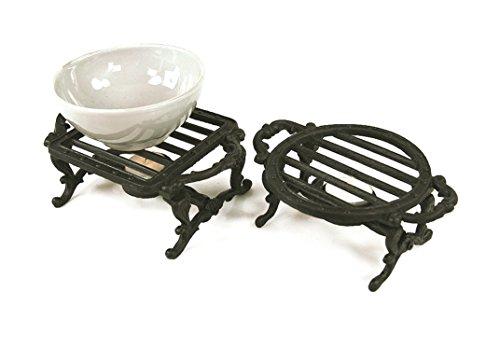 Precioso par de calentadores de placa de hierro fundido salvamanteles y–ideal para proteger su mesa y a mantener la comida caliente con una vela de té