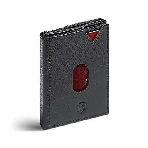 VAN BEEKEN Mini Kartenetui für 12-14 Karten - Leder Geldbeutel Geldbörse für Damen und Herren - Slim Wallet Kreditkartenetui mit RFID Schutz