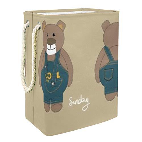 DEYYA Sunday Bear Panier à linge haut et robuste pliable pour adultes, enfants, adolescents, garçons et filles dans les chambres et la salle de bain 49 x 30 x 40,5 cm