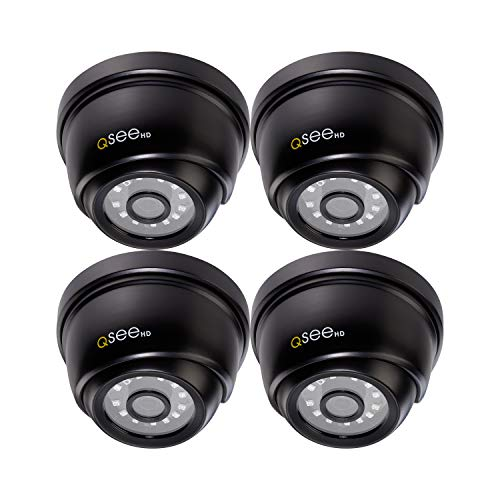 Q-See Home 1080P Analog HD Add-On Dome Surveillance Camera 4 Pack, Night Vision, Indoor and Outdoor, Black (QTH8056DA-4)