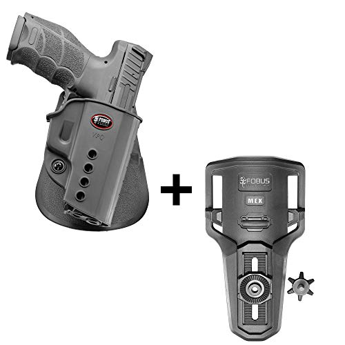 Fobus rotating roto tactical retention holster + Lowride belt holder attachment for Heckler & Koch H&K VP9, SFP9, USP Full Size / Walther PPQ pistols