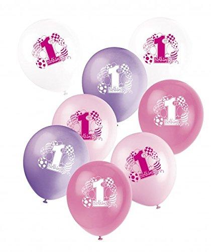 24 Pour 1er anniversaire ballons rose mix