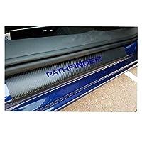 ドアガードステッカー 日産パスファインダー炭素繊維ビニールステッカー車のドアシルプロテクタースカッフプレートカーアクセサリー4本と互換性が車のステッカー 敷居 (Color : Blue)