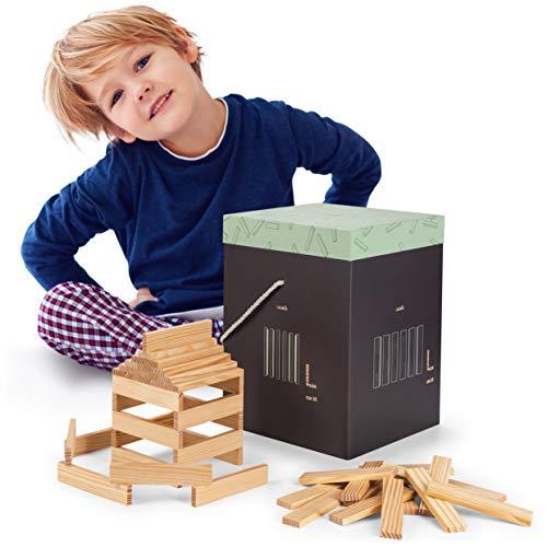 Laleni Costruzioni Legno Bambini, 220 Pezzi in Legno Naturale, Blocchi Costruzioni Bambini, Tavolette Costruzioni Legno