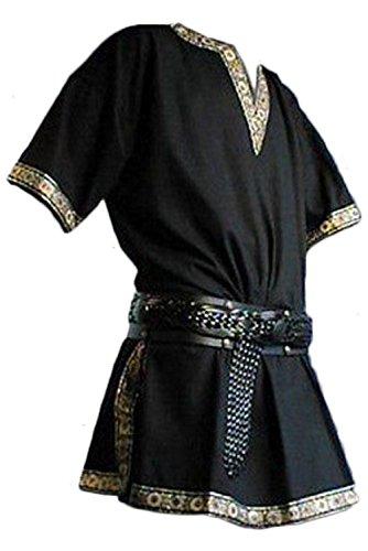 Manga Corta Medieval de Los Hombres Tunica Medieval Camisa con Cuello en V Sin Correa Negro, XL