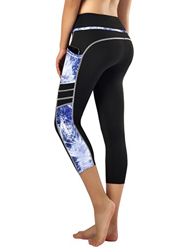 Zinmore Women's Capri Yoga Pants Exercise Running Workout Leggings with Pockets (Large, Capri Printed-62)