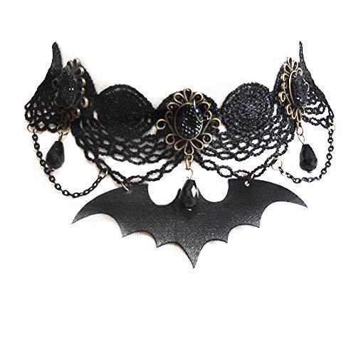 Kercisbeauty Zwarte Kant Choker met Bat Hanger voor Vrouwen en Meisjes Crystal Gothic Ketting Halloween Comic Con Custume