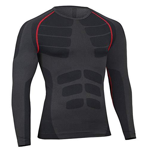 Bwiv Camiseta Hombre Deportiva Compresión Camiseta Interior Hombre Manga Larga Fitness Gimnasio Aire Libre para Entrenamiento Ciclismo de Negro Gris y Rojo Línea Talla XL