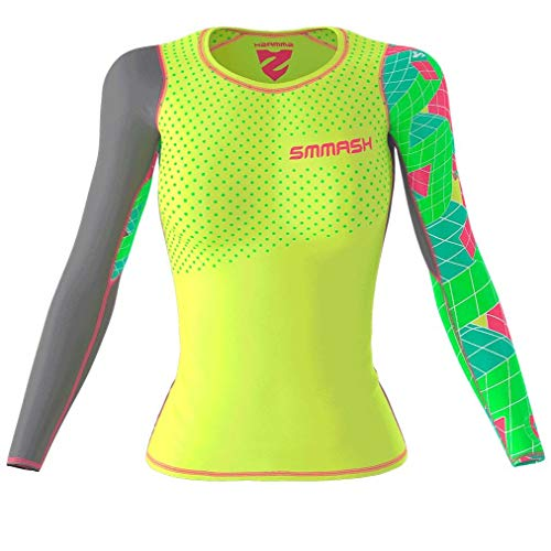 SMMASH Go Candy Neon Womens Long Sleeve Compression Tops, Breathable and Light, Functional Thermal Shirt for Crossfit, Fitness, Yoga, Gym, Running, Sport Long Sleeved, Antibacterial Material… (XL)