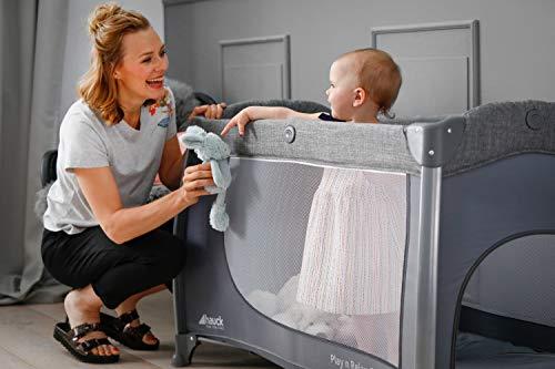 Hauck Play'n Relax Center Reisebett, 7-teiliges, ab Geburt bis 15 kg, faltbar und kippsicher, mit Neugeborenen Einhang, Wickelauflage, seitlicher Ausstieg, Netztasche, Räder, Transporttasche, grau - 29