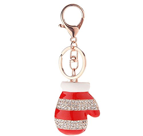 Qinlee Key ring Support Breast Cancer Awareness Pink Ribbon Bow Boxing Glove Keychain