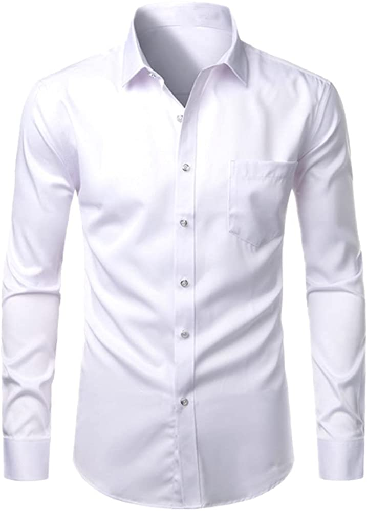 Pink Mens Beauty products Dress Shirts Long Outlet SALE Sleeve Down Button Men Slim F Casual