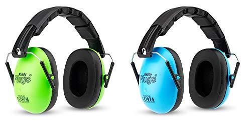 KiddyPlugs Kinder Kapsel Gehörschutz 2er Pack GRÜN BLAU, Lärmschutz Kopfhörer Kinder, faltbar, größenverstellbar, weich gepolstert - für Kinder, Jugendliche und Erwachsene by KIDDYPLUGS