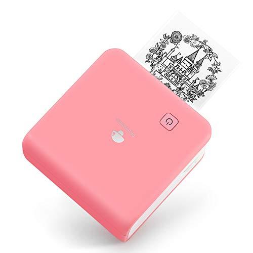 Phomemo Bluetooth Drucker Thermofotodrucker Mini Aufkleber Drucker Handy Taschendrucker 300 dpi Auflösung für iOS und Android Systeme, Geeignet für Studien, Fotodruck, Arbeit, Memo, Pink