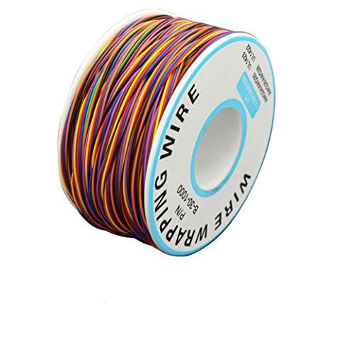 BlueXP 280M Cable de Prueba de Aislamiento 8 Colores Wrapping Cable de Cobre Estañado 30AWG para PCB Placa Base Portátil Prueba Electrónica