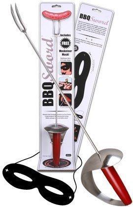 De drie spieren barbecue set 48 cm roestvrij staal grill zwaard worst tanden gereedschap & gratis masker