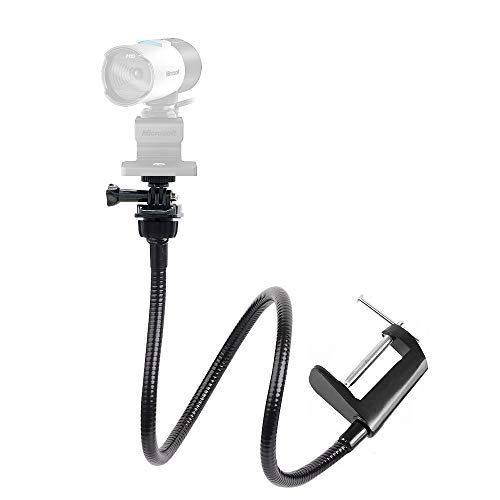 25 inch Flexible Desktop Tabletop Jaw Long Arm Clamp Clip Mount Holder for Microsoft LifeCam Studio 1080p HD Webcam