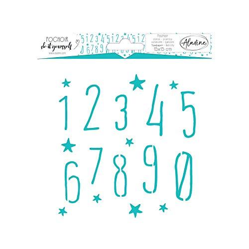 Aladine - Pochoir DIY Chiffre - Scrapbooking, Décoration et Carterie Créative - Lavable - 15 x 15 cm - Motifs Chiffres et Etoiles