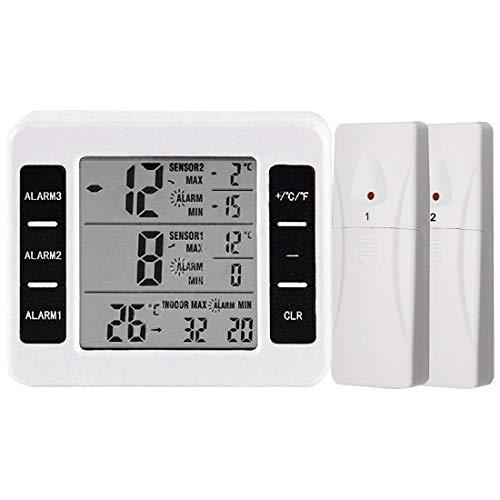 Thermomètre Numérique de Réfrigérateur/Congélateur sans Fil, Thermomètre extérieur Capteur de Température de sonde pour Cuisine Jardin Bureau,avec Alarme Sonore