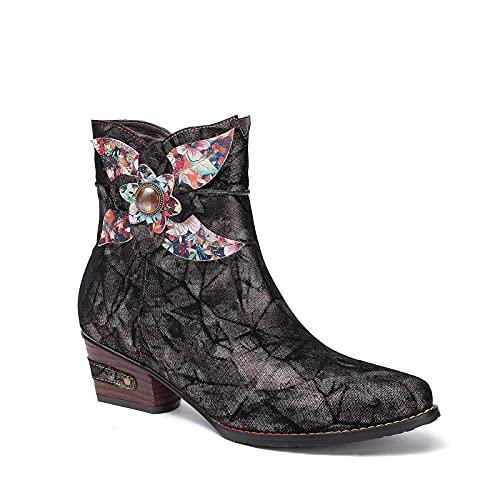 CrazycatZ Damen Stiefeletten mit Absatz Leder Stiefel Bohemian Block Heel Leder Westernstiefel (Black B, numeric_42)