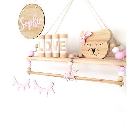 Fablcrew. Estantería nórdica de Pared, Decorativa, Colgante, estantería con balda y Tabla de Madera para niños, Color Rosa