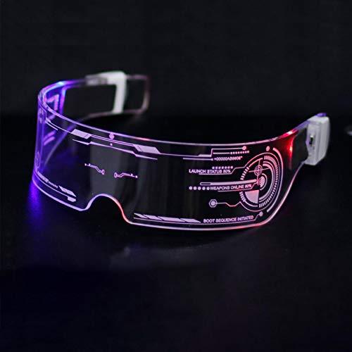 Gafas luminosas LED, gafas con visera LED, gafas con visera LED Cyberpunk, gafas luminosas con LED, gafas con visera electrónica futurista, para festivales, fiestas, cumpleaños, Navidad