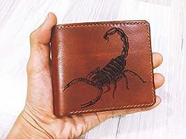 Unik4art - Personalized leather men's wallet, scorpion engraving men's wallet