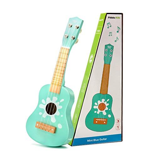 Pidoko Kids Toy Guitar Wooden Ukulele - Mint Blue - Musical Toys for Toddlers Boys and Girls