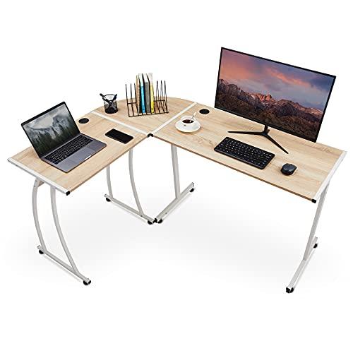 VONLUCE L-Form Eckschreibtisch 147 x 112 x 75 cm Schreibtisch Computertisch Gaming Bürotisch Arbeitstisch Workstation für Arbeit Computerspiel Lernen (Eiche)