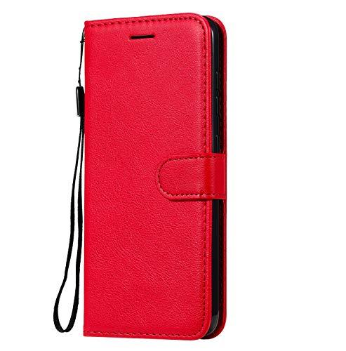 Fatcatparadise Cover Compatibile Nokia 7.1 [con Pellicola in Vetro Temperato], Cuoio Portafoglio Flip Case Conception Simple Wallet Case Custodia in PU Lussuosa Cover (Rosso)