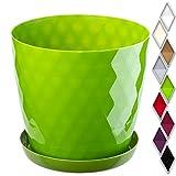 KADAX Maceta para Flores y Plantas con platillo, Material Ligero y Resistente, una Maceta Decorativa para Plantas (⌀ 16cm, Verde)