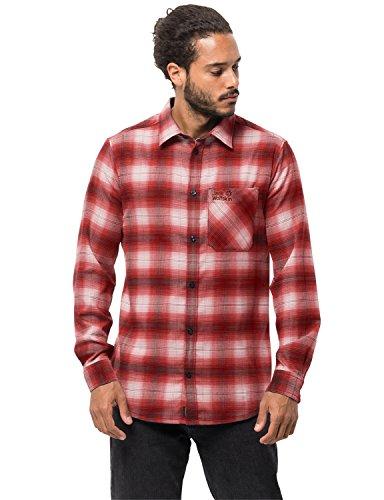 Jack Wolfskin Herren Light Valley Shirt Hemd für Reise Freizeithemd, Mexican Pepper Checks, L