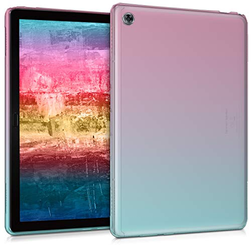 kwmobile Carcasa Compatible con Huawei MediaPad M5 Lite 10 - Funda para Tablet de TPU - Bicolor Rosa Fucsia/Azul/Transparente