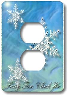 3dRose lsp_37011_6 Sung Tan Chuk Ha, Merry Christmas In Korean, Snowflake 2 Plug Outlet Cover