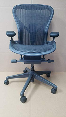 Herman Miller Aeron Ergonomic Office Chair with Tilt Limiter and Carpet Casters | Adjustable PostureFit SL, Arms, and Seat Angle | Medium Size B with Graphite Finish and Black Mesh (Renewed)