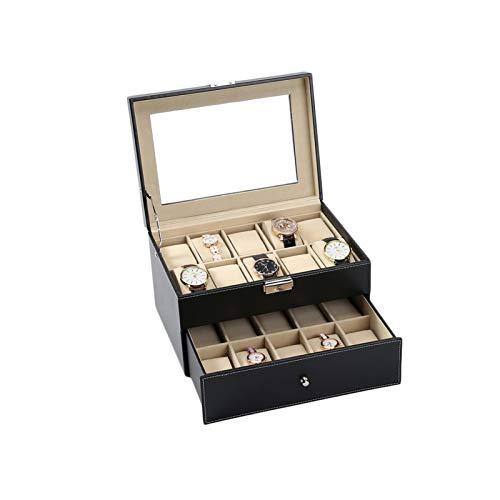 F-HOME Caja De Reloj Elegante Joyería Mostrar Organizador De Relojes Negro Conveniente Durable Elegante Regalo Doble Capa Caja De Reloj (Color : A)
