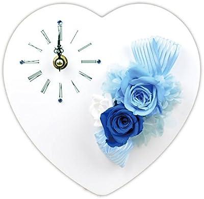 Lulu's プリザーブドフラワー ハート時計 サイズ幅18cm長さ6cm高さ18cm ブルー Lulu's-0025
